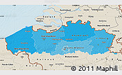 Political Shades Map of Vlaanderen, shaded relief outside