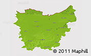 Physical 3D Map of Oost-Vlaanderen, cropped outside