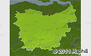 Physical 3D Map of Oost-Vlaanderen, darken