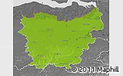 Physical 3D Map of Oost-Vlaanderen, desaturated