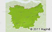 Physical 3D Map of Oost-Vlaanderen, lighten