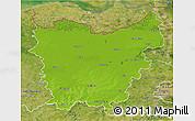 Physical 3D Map of Oost-Vlaanderen, satellite outside