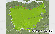 Physical 3D Map of Oost-Vlaanderen, semi-desaturated