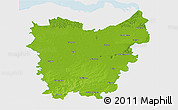 Physical 3D Map of Oost-Vlaanderen, single color outside