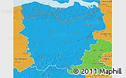 Political 3D Map of Oost-Vlaanderen