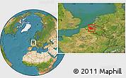 Satellite Location Map of Oost-Vlaanderen