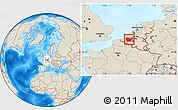 Shaded Relief Location Map of Oost-Vlaanderen