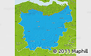 Political Map of Oost-Vlaanderen, physical outside
