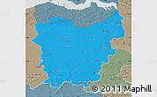 Political Map of Oost-Vlaanderen, semi-desaturated