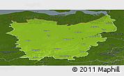 Physical Panoramic Map of Oost-Vlaanderen, darken