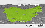 Physical Panoramic Map of Oost-Vlaanderen, desaturated