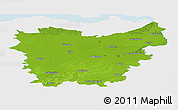 Physical Panoramic Map of Oost-Vlaanderen, single color outside