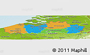 Political Panoramic Map of Vlaanderen, physical outside