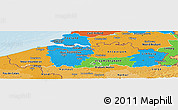 Political Panoramic Map of Vlaanderen, political shades outside