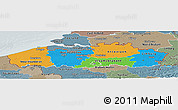 Political Panoramic Map of Vlaanderen, semi-desaturated