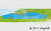 Political Shades Panoramic Map of Vlaanderen, physical outside