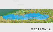 Political Shades Panoramic Map of Vlaanderen, satellite outside