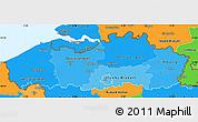 Political Shades Simple Map of Vlaanderen, political outside