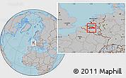 Gray Location Map of Vlaams Brabant, hill shading