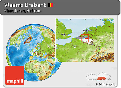 Physical Location Map of Vlaams Brabant, highlighted country, highlighted parent region, within the entire country