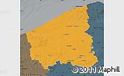 Political Map of West-Vlaanderen, darken, semi-desaturated