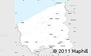 Silver Style Simple Map of West-Vlaanderen