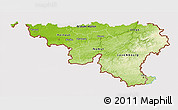 Physical 3D Map of Wallonne, cropped outside
