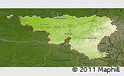 Physical 3D Map of Wallonne, darken