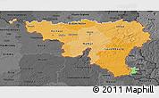 Political Shades 3D Map of Wallonne, darken, desaturated