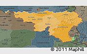 Political Shades 3D Map of Wallonne, darken, semi-desaturated