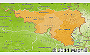 Political Shades Map of Wallonne, physical outside