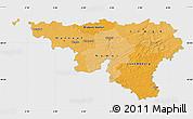 Political Shades Map of Wallonne, single color outside