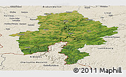 Satellite Panoramic Map of Namur, shaded relief outside
