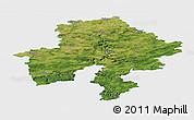 Satellite Panoramic Map of Namur, single color outside