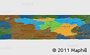 Political Panoramic Map of Wallonne, darken