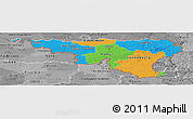 Political Panoramic Map of Wallonne, desaturated