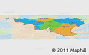 Political Panoramic Map of Wallonne, lighten