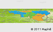 Political Panoramic Map of Wallonne, physical outside