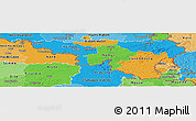 Political Panoramic Map of Wallonne, political shades outside