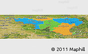 Political Panoramic Map of Wallonne, satellite outside