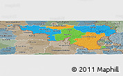 Political Panoramic Map of Wallonne, semi-desaturated