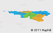 Political Panoramic Map of Wallonne, single color outside