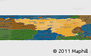 Political Shades Panoramic Map of Wallonne, darken