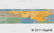 Political Shades Panoramic Map of Wallonne, semi-desaturated