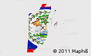 Flag 3D Map of Belize, flag centered