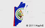 Flag 3D Map of Belize, flag aligned to the middle