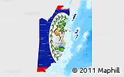 Flag 3D Map of Belize, single color outside, bathymetry sea