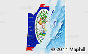 Flag 3D Map of Belize, single color outside, shaded relief sea
