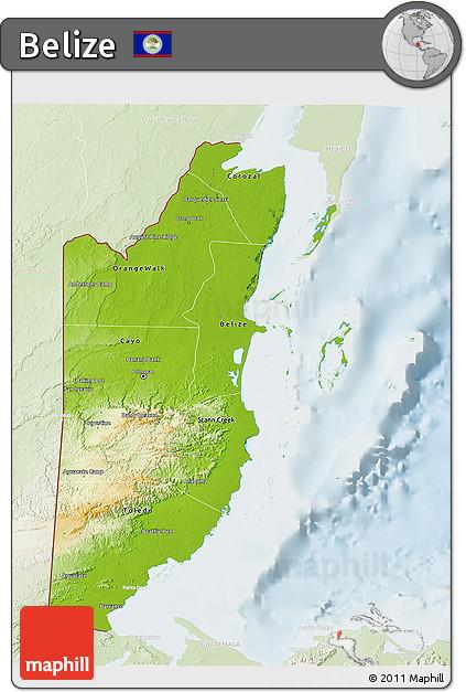Physical 3D Map of Belize, lighten
