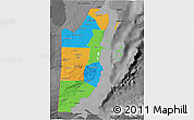 Political 3D Map of Belize, darken, desaturated
